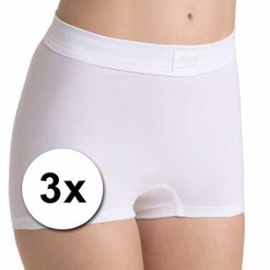 3 witte hoge shorts voor dames