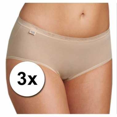 3x sloggi basic midi dames ondergoed huidskleur