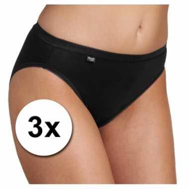 3x sloggi basic tai dames ondergoed zwart