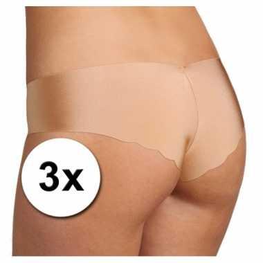 3x sloggi dames light hipster ondergoed huidskleur