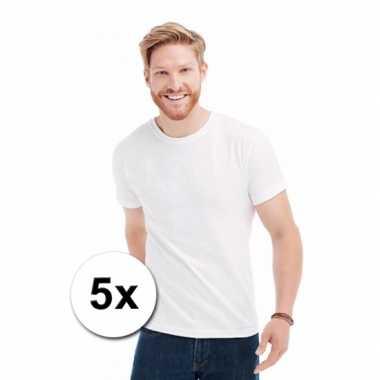 5x witte t shirts ronde hals