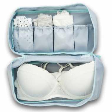 Grijs/blauw lingerie/ondergoed tasje met make up tasje 27 cm