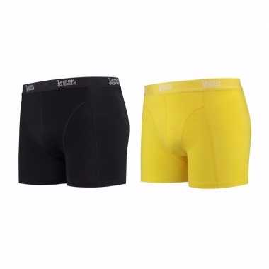 Lemon and soda boxershorts 2 pak zwart en geel 2xl