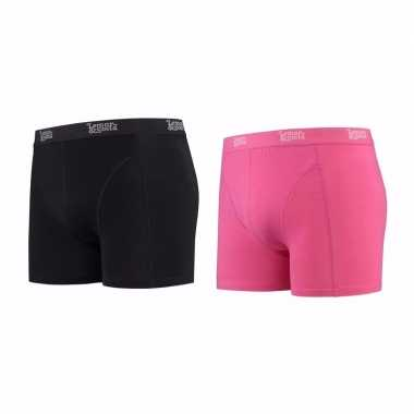 Lemon and soda boxershorts 2 pak zwart en roze 2xl