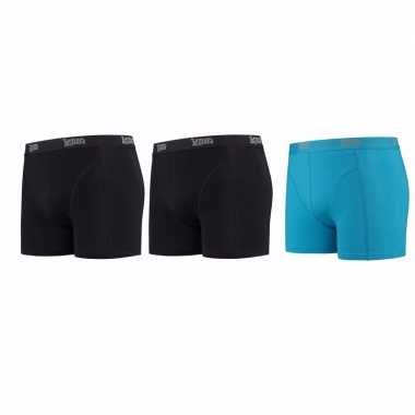 Lemon and soda boxershorts 3 pak zwart en blauw s