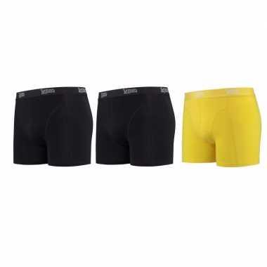 Lemon and soda boxershorts 3 pak zwart en geel l
