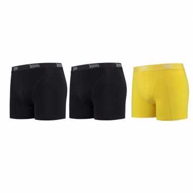 Lemon and soda boxershorts 3 pak zwart en geel s
