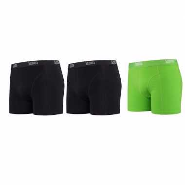 Lemon and soda boxershorts 3 pak zwart en groen l