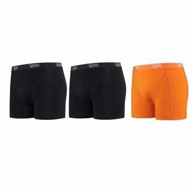 Lemon and soda boxershorts 3 pak zwart en oranje 2xl