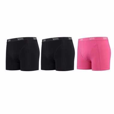 Lemon and soda boxershorts 3 pak zwart en roze l