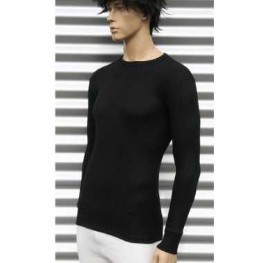 Thermo shirt zwart met lange mouwen volwassenen