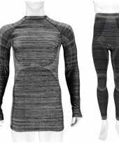 Thermo kleding set shirt en broek zwart melange heren maat xl